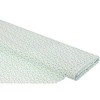 Tissu coton 'petites fleurs', bleu/blanc
