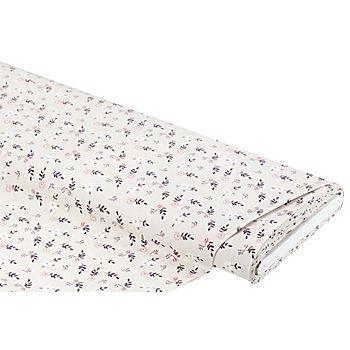 Tissu coton 'petites fleurs', taupe/rose