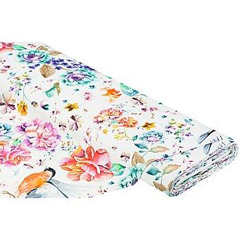 Tissu canevas 'fleurs et oiseaux', multicolore