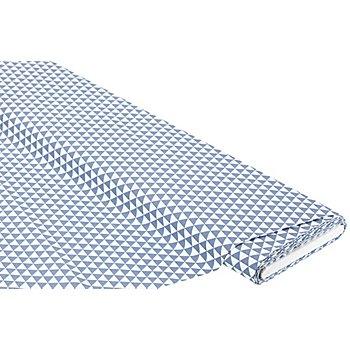 Tissu coton 'triangles', blanc/bleu