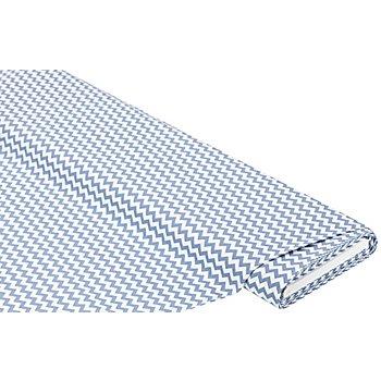 Tissu coton 'zigzag', bleu jeans/blanc