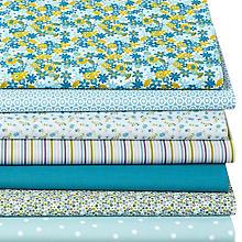 Lot de 7 coupons de tissu patchwork 'fleurettes', turquoise/curry