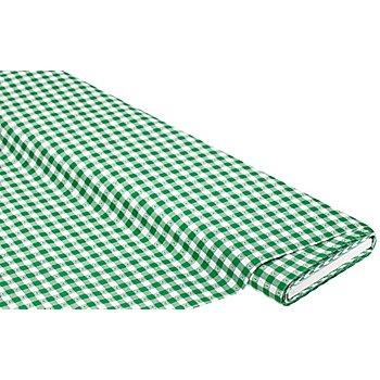 Webkaro 1 x 1 cm mit Herzen, grün/weiß