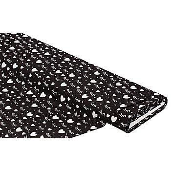 Tissu coton 'cils', noir/blanc