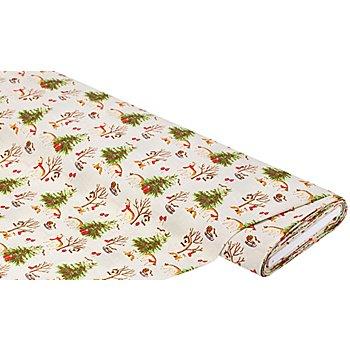 Tissu coton 'Noël en forêt', écru multicolore