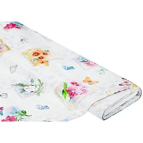 """Image of Abwaschbare Tischwäsche - Wachstuch """"Blumen & Schmetterlinge"""", bunt"""