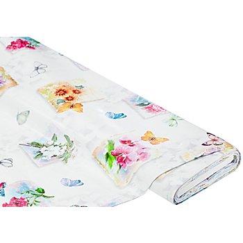 Abwaschbare Tischwäsche - Wachstuch 'Blumen & Schmetterlinge', bunt