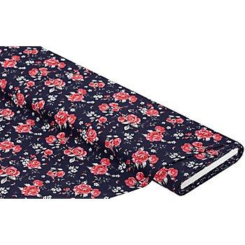 Tissu coton 'roses', bleu marine/rose vif
