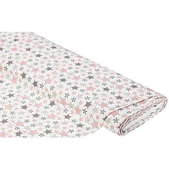 Baumwollstoff Sterne/Kristalle 'Mona', weiß/rosa