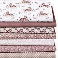 """Lot de 7 coupons de tissus patchwork """"chevreuils"""", blanc/écru/vieux rose"""