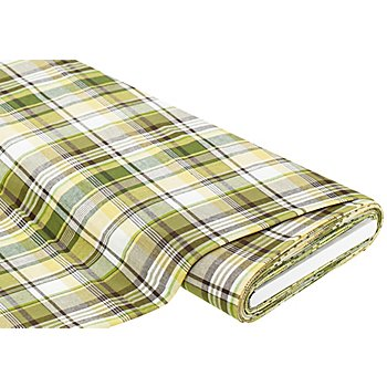 Tissu coton 'carreaux', vert/jaune/blanc