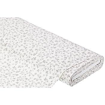 Baumwollstoff Blätter-Ranke 'Mona', weiß/grau