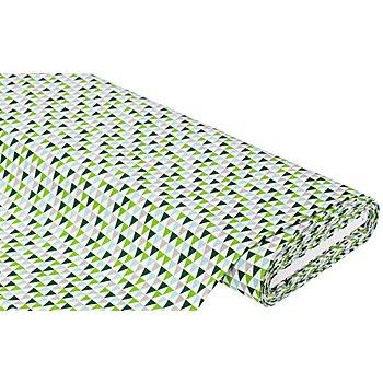 Baumwollstoff Dreiecke 'Mona', grün/grau/mint