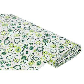 Baumwollstoff Mandala/Paisley 'Mona', grau/grün
