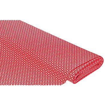 Baumwollstoff Mini-Blümchen 'Mona', rot/weiss