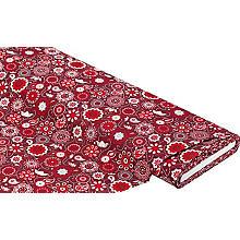 Tissu coton 'mandala / paisley', rouge/gris