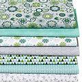 """Lot de 7 coupons de tissus patchwork """"mandalas"""", vert/menthe"""
