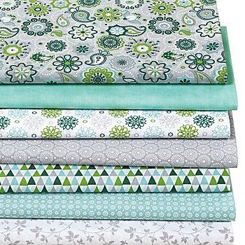 Lot de 7 coupons de tissus patchwork 'mandalas', vert/menthe