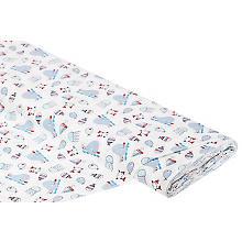 Tissu coton 'baleines/poissons', blanc multicolore