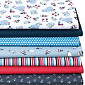 "Lot de 7 coupons de tissu patchwork ""baleines"", bleu marine multicolore"