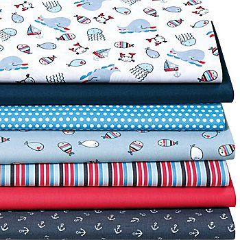 Lot de 7 coupons de tissus patchwork 'baleines', bleu marine multicolore