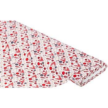 Baumwollstoff Weihnachtskugeln/Zweige 'Mona', weiss/rot