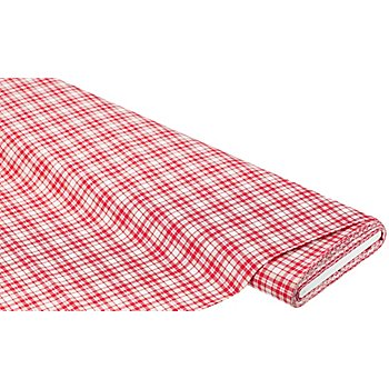 Baumwollstoff Karo 'Mona', rot/taupe