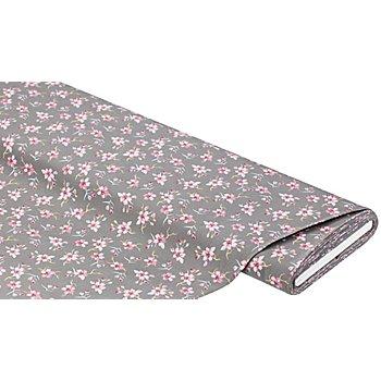 Baumwollstoff Kirschblüten 'Mona', grau-color
