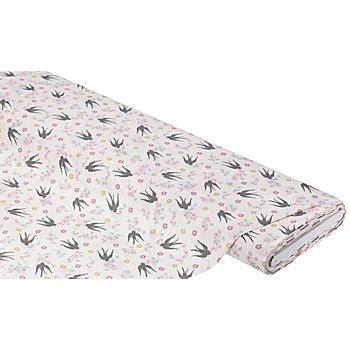 Tissu coton 'oiseaux/fleurs', blanc/rose/gris