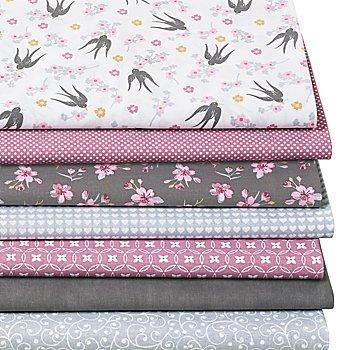 Lot de 7 coupons de tissus patchwork 'oiseaux/fleurs de cerisier', rose multicolore