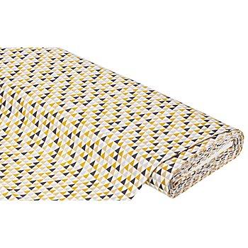 Baumwollstoff Dreiecke 'Mona', weiß/ocker/braun