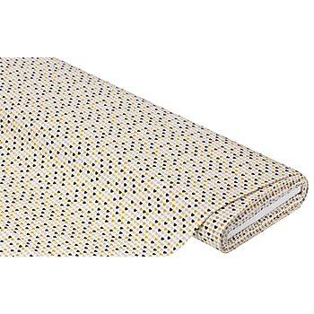 Tissu coton à petits cœurs, blanc/ocre