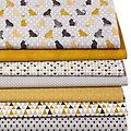 """Lot de 7 coupons de tissu patchwork """"chats"""", gris/ocre/blanc"""