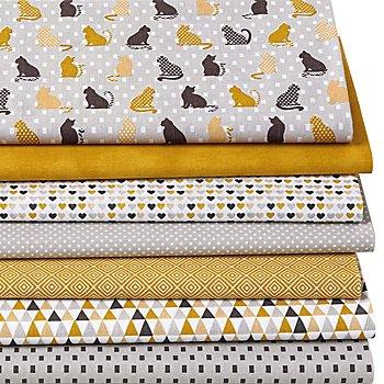 Lot de 7 coupons de tissu patchwork 'chats', gris/ocre/blanc