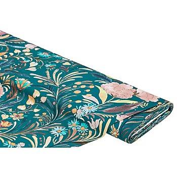 Tissu coton 'fleurs' à impression numérique, pétrole/multicolore