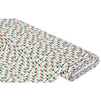 Baumwollstoff Dreiecke 'Mona', weiß/petrol/braun