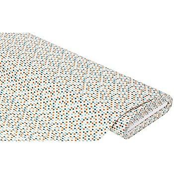 Tissu coton 'petits coeurs', blanc/pétrole/ocre