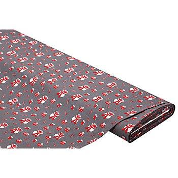 Baumwollstoff Weihnachten/Geschenke 'Mona', dunkelgrau/rot