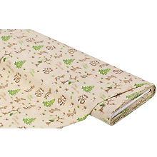 Tissu coton 'Noël/lapin', marron/vert/blanc