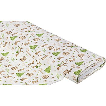 Tissu coton 'Noël/lapin', blanc/marron