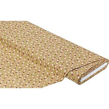 Tissu coton 'étoiles', marron/vert