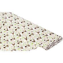 Tissu coton 'boules de Noël/branches', blanc/vert/marron