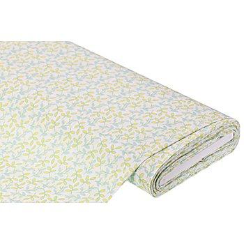 Baumwollstoff Zweige 'Mona', gelb/mint/weiß