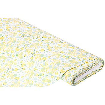 Baumwollstoff Blumen/Formen 'Mona', gelb/mint