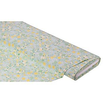 Baumwollstoff Blumen/Formen 'Mona', mint/gelb