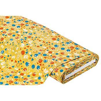 Tissu coton 'fleurs/formes', ocre/rouge/bleu