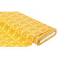 "Tissu coton ""ramages"", ocre/blanc/rouge"