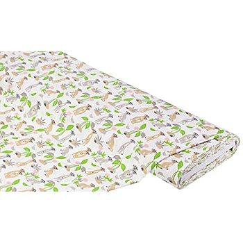 Baumwollstoff Erdmännchen 'Mona', weiß-color