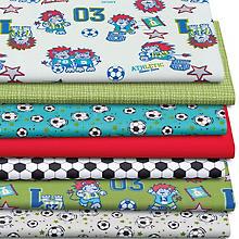 Lot de 7 coupons de tissus patchwork 'football', vert multicolore