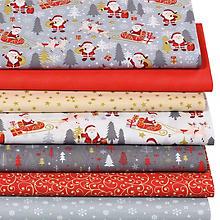 Lot de 7 coupons de tissu patchwork 'père Noël', rouge/doré
